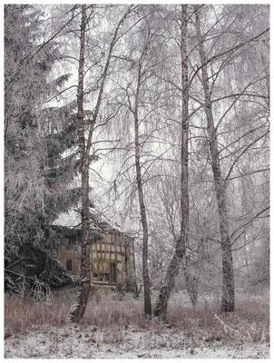 Winterlandschaft mit altem Bauernhaus bei Stockach 2421
