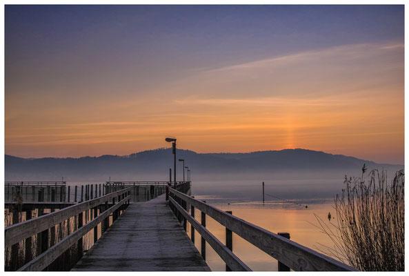 Steganlage Jachthafen Bodman in der Morgendämmerung 3052