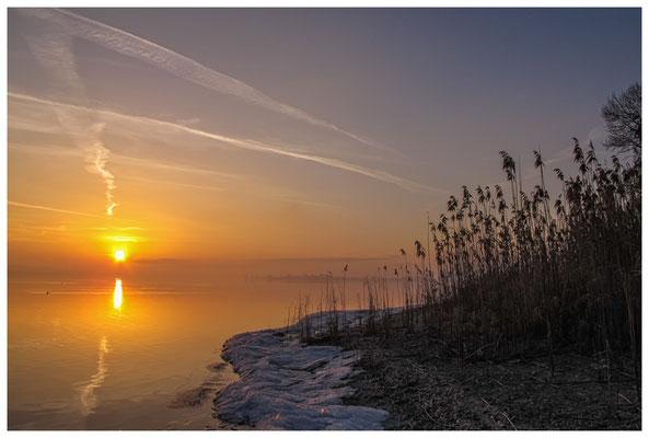 Sonnenaufgang an der Mettnauspitze mit Blick auf die Insel Reichenau 2883