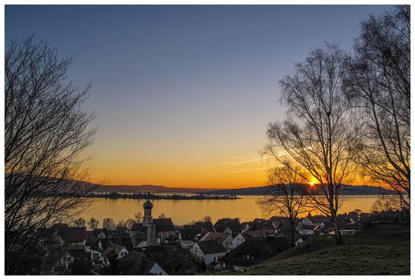 Sonnenuntergang über dem Gnadensee und der Insel Reichenau 3023