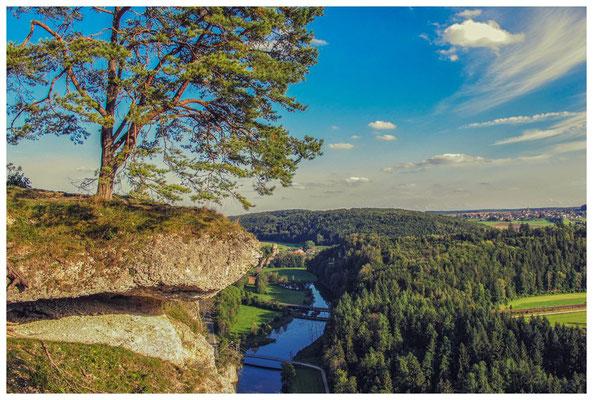 Teufelslochfelsen mit Blick auf die Donau und Burgruine Dietfurt 4279