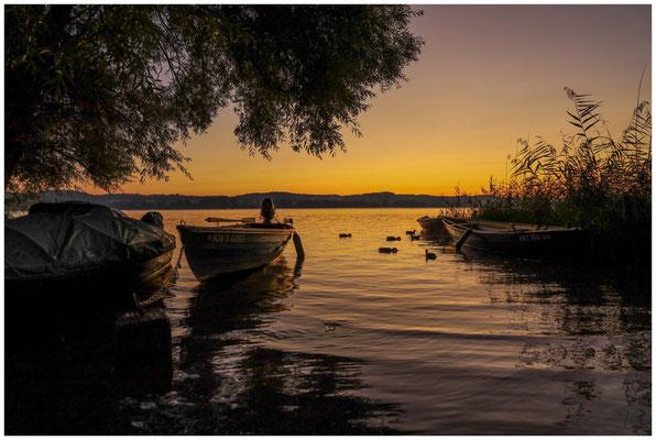 Morgendämmerung mit Fischerbooten auf der Insel Reichenau 0685