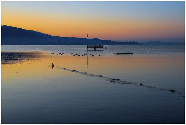 Blick auf den Überlinger See mit Sprungturm vom Strandbad Bodman 0116
