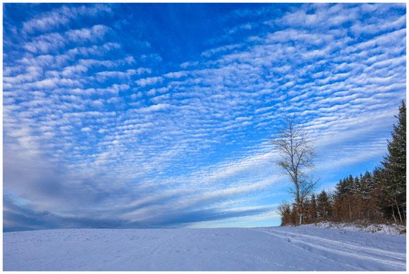 Schneelandschaft mit sich auflösenden Schäfchenwolken 5700