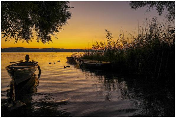 Morgendämmerung mit Fischerbooten auf der Insel Reichenau 0689