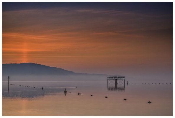 Sprungturm vom Strandbad Bodman in der Morgendämmerung - Überlinger See 3050