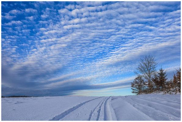 Schneelandschaft mit sich auflösenden Schäfchenwolken 5704