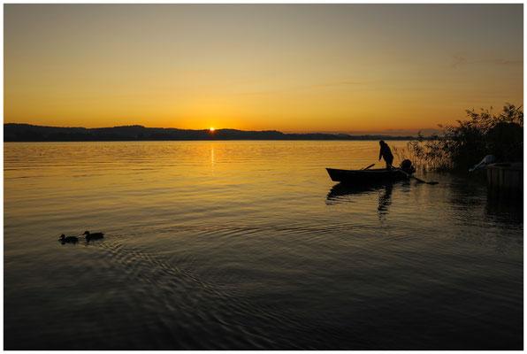 Fischer bei Sonnenaufgang auf der Insel Reichenau 0735
