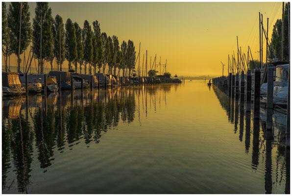 Boote im Jachthafen von Moos im Morgenlicht 0606