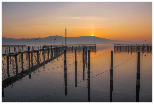 Steganlage Jachthafen Bodman bei Sonnenaufgang 3089