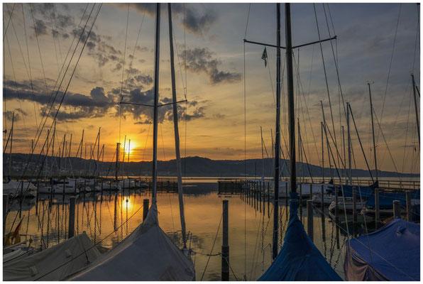 Sonnenaufgang im Jachthafen Bodman  2900