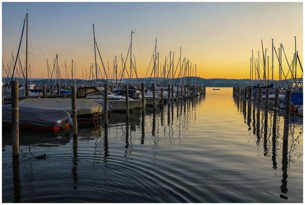 Kurz vor Sonnenaufgang im Jachthafen von der Insel Reichenau 0705