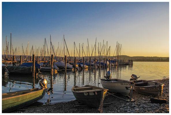 Yachthafen und Fischerboote auf der Insel Reichenau bei Sonnenaufgang 9538