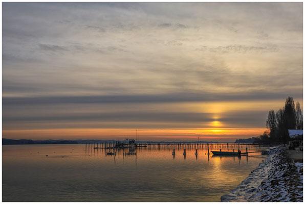 Wintermorgen im Jachthafen Iznang 6023