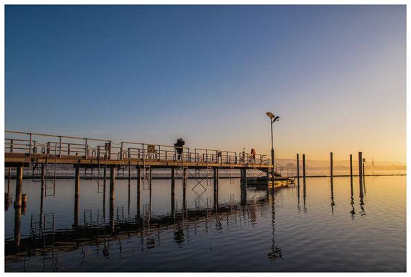 8461 Schiffsanlegestelle in Moos im Morgenlicht