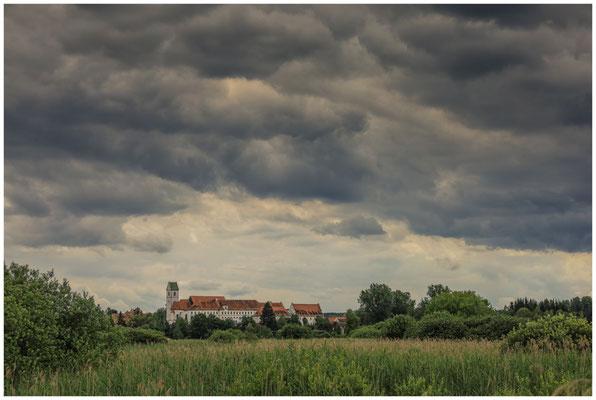 Riedlandschaft mit Blick auf Stiftskirche und Schlossklinik 3364