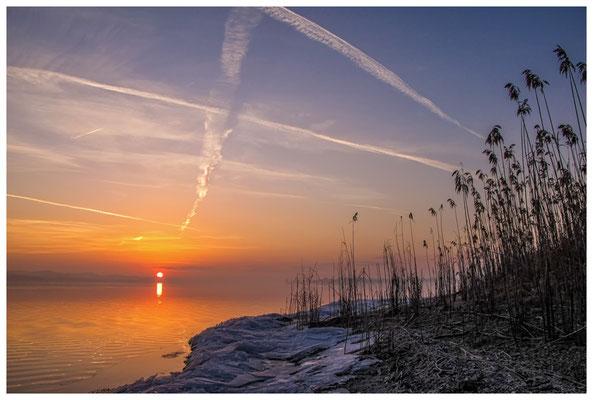 Sonnenaufgang an der Mettnauspitze mit Blick auf die Insel Reichenau und das Allensbacher Ufer 2847