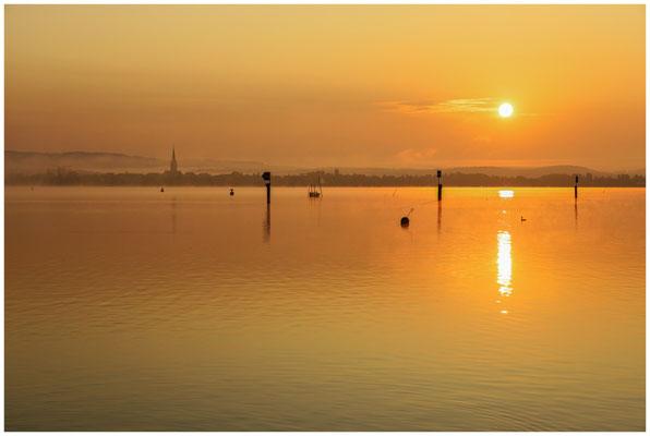 Sonnenaufgang über dem Zeller See mit Radolfzeller Münster 0566
