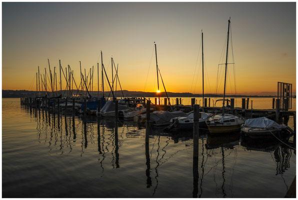 Sonnenaufgang im Jachthafen der Insel Reichenau 0740