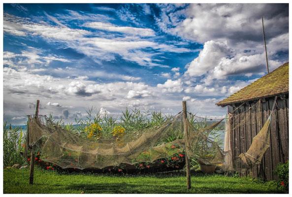 Trocknende Fischreusen mit Fischerhütte auf der Insel Reichenau 9225