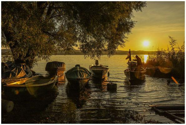 Sonnenaufgang auf der Insel Reichenau mit zurückkehrendem Fischer 0770