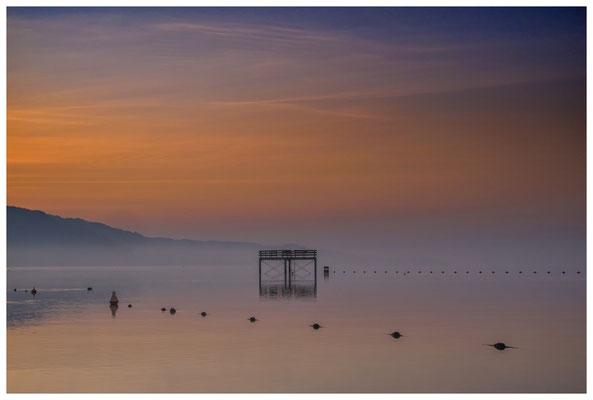 Sprungturm vom Strandbad Bodman in der Morgendämmerung - Überlinger See 3049