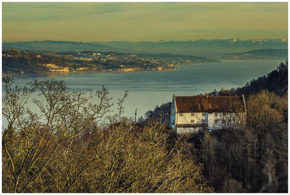 Blick auf Burg Frauenberg und den Überlinger See 1739