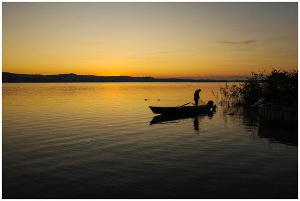 Fischer in der Morgendämmerung vor der Insel Reichenau 0725