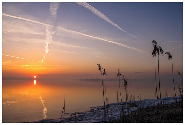 Sonnenaufgang an der Mettnauspitze mit Blick auf die Insel Reichenau und das Allensbacher Ufer 2853