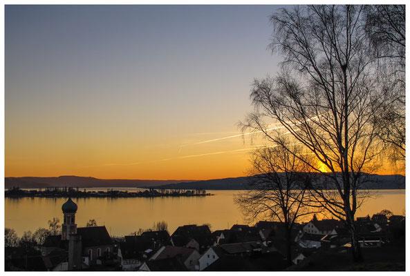 Sonnenuntergang über dem Gnadensee und der Insel Reichenau 3028