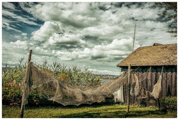 Trocknende Fischreusen mit Fischerhütte auf der Insel Reichenau 9224