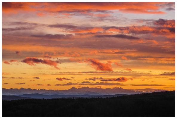 Blick auf die Alpenkette im Abendlicht bei Föhnstimmung 3907
