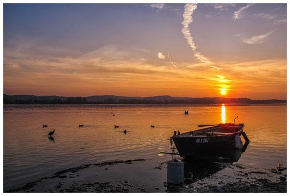 Sonnenaufgang mit Fischerboot auf der Insel Reichenau 0120