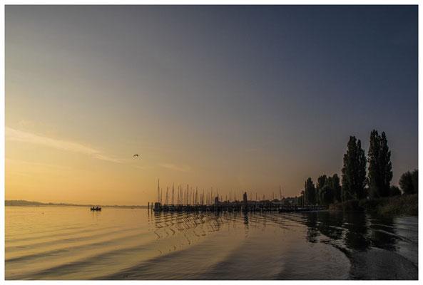Morgenstimmung auf der Insel Reichenau mit Fischerboot 0196