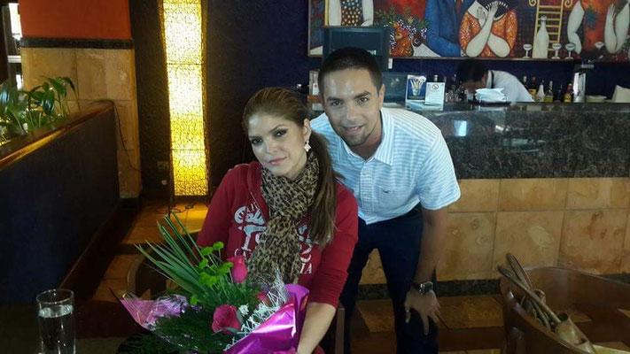 Junto a la cantante Ana Bárbara, en el año 2014