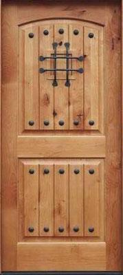 木製玄関ドア 英国アンティーク調 アイアン格子・小窓付き 輸入玄関ドア 118,900円