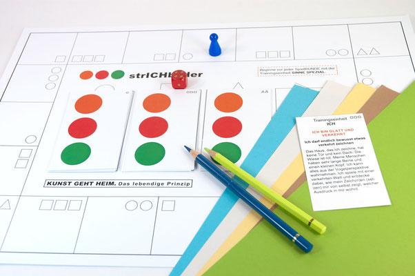 KUNSTzeich(n)en - strICHbilder | SPIELplan mit SPIELelementen | Foto: manutober