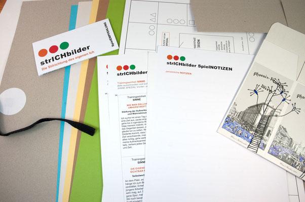 KUNSTzeich(n)en - strICHbilder | Inhalt der Spiel- und Zeichenmappe | Foto: manutober