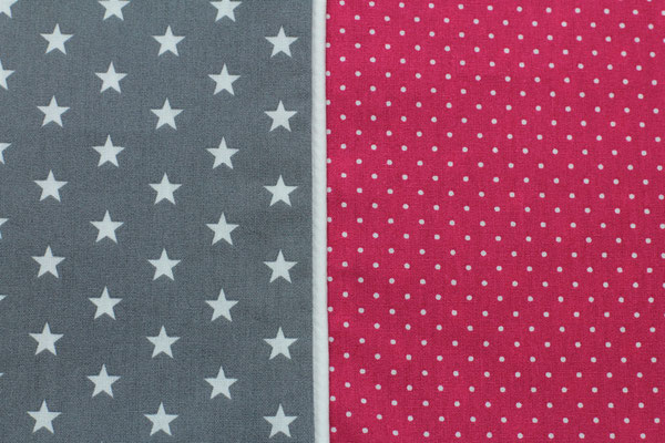 Stoffkombi 709  Sterne klein grau/ Punkte Pink
