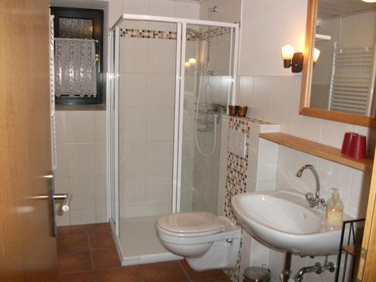 Badezimmer mit Dusche & WC, Haartrockner, Handtücher