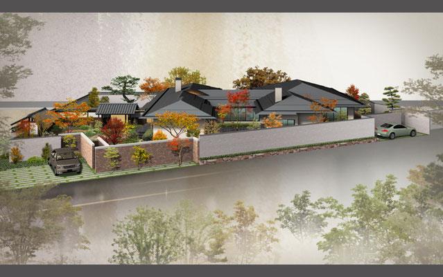 岡山に建設の和風住宅の鳥観図