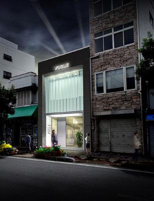 岡山市に建設の美容院建設の写真合成(夜景)