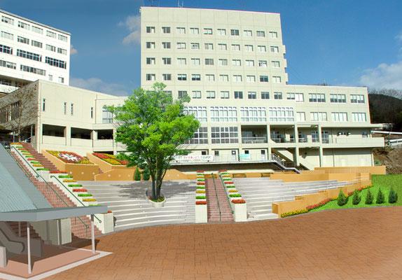 大学広場改修後の写真合成