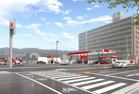 ガソリンスタンド建設後の写真合成