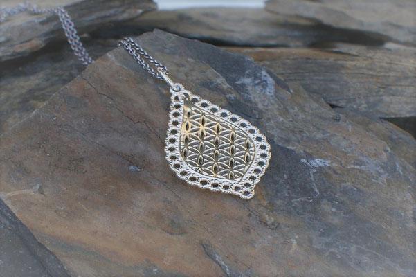 Kettenanhänger Blume des Lebens in Silber
