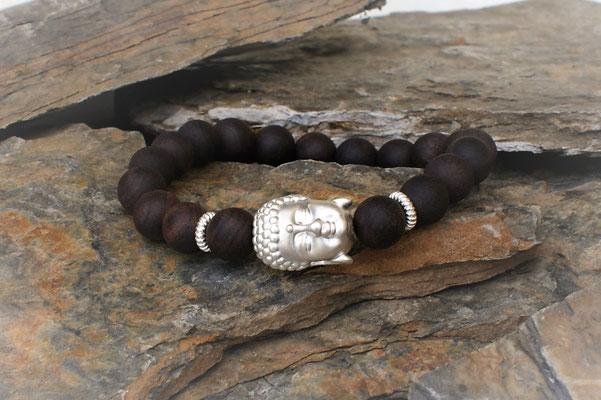 Buddha in Silber kombiert mit Adlerholz