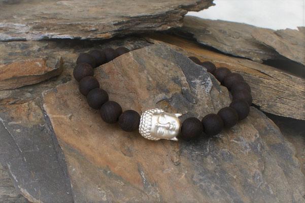 Buddha in Silber kombiniert mit Adlerholz