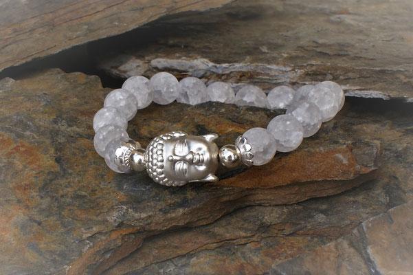 Buddha in Silber kombiniert mit Bergkristall