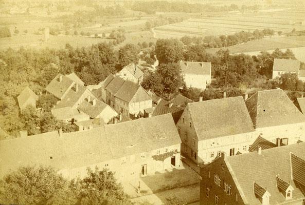Blick vom Kirchturm in Richtung Stadtpark. Kurbad und Villa Marx sind noch nicht gebaut.