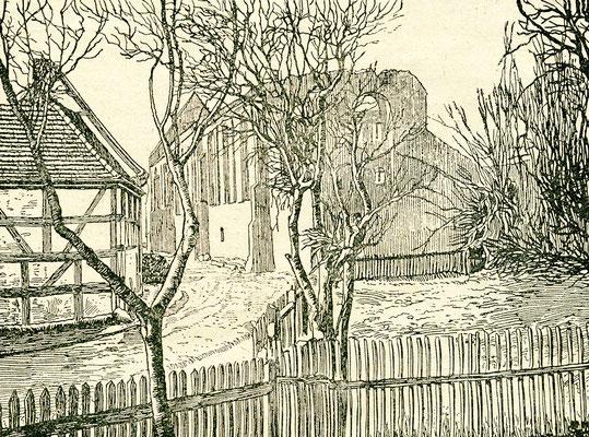 Ruinen der Kirche des Augustinerklosters. Das Gebäude fiel den Flammen zum Opfer